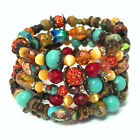 Bright Multi Color Glass Beads Memory Wire Coil Spiral Wrap Bracelet