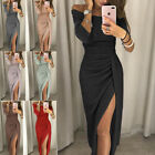 Womens Sexy Off Shoulder Evening Formal Party Split Gown Prom Bodycon Long Dress