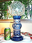 ART GLASS BOHEMIAN COBALT BLUE CUT TO CLEAR HURRICANE LAMP TWO PIECES CANDLE