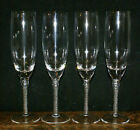 FOUR Air Twist Stem Twisted Crystal Champagne Flutes  9 1 4 H and 1 7 8 Dia