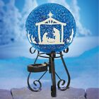 BLUE WHITE SOLAR LIGHTED OUTDOOR CHRISTMAS NATIVITY GAZING BALL W STAND JESUS