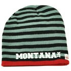Montana State Knit Beanie Scrum Striped Cuffless Gray Hat Winter Red Black USA