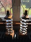 Vintage Lucite Mid Century Modern MCM Stacked Lucite Wood Table Lamps 2