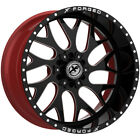 4 Forged XFX 301 18x10 6x135 6x55 12mm Black Milled Red Wheels Rims 18 Inch