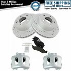 Front Posi Ceramic Brake Pad Performance Drilled Slotted Rotor & Caliper Kit