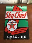 TEXACO SKY CHIEF Pump Plate PORCELAIN Sign Gas Oil Advertising ~ Dated 1947