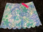 NWT Lilly Pulitzer Colette Skort Whisper Blue Womans Size 8 Scalloped Edge
