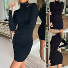 Women Sexy Long Sleeve Turtleneck Bodycon Sheath Party Cocktail Short Mini Dress