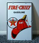 VINTAGE TEXACO FIRE CHIEF GASOLINE PORCELAIN SIGN GAS OIL METAL STATION PUMP AD