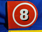 Texaco Double Sided Number Gas Pump Flange Sign #8 VTG Metal RARE Red White
