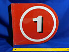 Texaco Double Sided Number Gas Pump Flange Sign #1 VTG Metal RARE Red White Blac