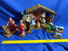 HUGE 11pc 70s Williams Xmas Handpainted Nativity Set Scene Wood Barn Baby Jesus
