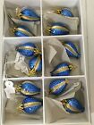 Vintage Czech Glass Christmas Mini 15 Gold Blue Ornaments 12 pieces in Box
