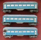 Three Lionel O Gauge Pullman and Observation Blue and Silver Passenger Cars
