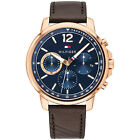 Tommy Hilfiger Mens Sport Watch, Rose Gold Plated w/ Multifunction Blue Dial