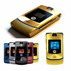 Retro Motorola Razr V3 GSM Unlocked Worldwide International Flip Mobile Phone Ny