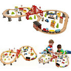 70PC DIY Hand Crafted Wooden Train Set Road Crossing Track Railway Kids Toy Play