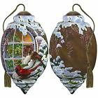 NeQwa Art Hand Painted Blown Glass Christmas Window Ornament Cardinals