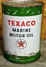 Old Full Texaco Marine  1 Quart Motor Oill Can w Ships Boats