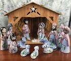 Christmas Mexico Traditional Nativity Scene 14 Pc Handcrafted Pottery w Stable