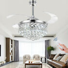 42Remote Retractable Blade LED Light Chandelier Silver Crystal Ceiling Fan Lamp