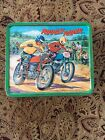Vintage Rough Rider Motorcycle Dirt Bike Metal Lunchbox Aladdin With Chain