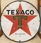 """Awesome Antique Porcelain & Tin Texaco Gasoline Station Oil Advertising Sign 15"""""""