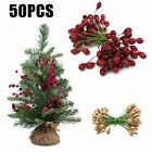 50x Artificial Holly Berry Bunches Fake Berries Flower Stamens DIY Wedding Decor