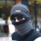Men's Warm Scarf with 2pcs Beanie Cap Skull Knitted Hat Winter Set