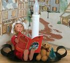 BYERS CHOICE Kindle Girl with Book  Teddy Bear Sitting with Lamp