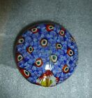 Millefiore Paperweight Blue Peacock design Head raised on one side 3
