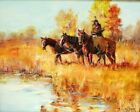 M SNYDER Original Western Art Oil Painting Signed Impressionist Native American