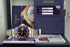 ROLEX Mens 18kt Gold Stainless Submariner Black Index No Holes 16613 SANT BLANC