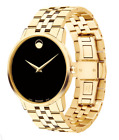 MOVADO 0606997 Black Dial Yellow PVD Museum Classic Analog Men's Watch