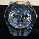 MEN'S GUESS ICE BLUE/BROWN CHRONOGRAPH WATCH-CANVAS STRAP U0454G4 NEW W/O TAGS
