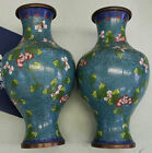Collectible Pair Small Cloisonne Vases Marked CHINA on bottom