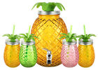 Urban Den Tropical Glass Dispenser1 Gal and Cup Sets12 and 8 ounces