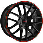 4 Touren TR60 18x8 5x115 5x120 +20mm Black Red Wheels Rims 18 Inch