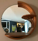 Vintage Art Deco Round Glass Wood Shelf and Mirror Wall Unit Display 3 Tier