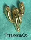 RARE SIGNED TIFFANY 18K YELLOW GOLD CACTUS BROOCH W RUBIES MADE IN ITALY