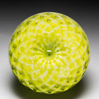 Unknown maker possibly Swedish abstract yellow glass paperweight