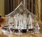 New Icy Craft Crystal Like Acrylic 10 Piece Lighted Nativity Set Scene w Manger