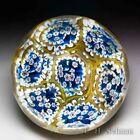 Murano large cane concentric millefiori faceted glass paperweight