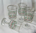 Arbys 1986 Christmas Holiday Holly Berry Footed Goblets Set of 4