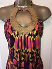 SKY Brand Exotic Tropical Psychedelic Print Long Top Mini Dress Med NWT Gorgeous