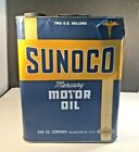 VINTAGE SUNOCO MERCURY MOTOR OIL 2 TWO GALLON CAN GAS STATION SIGN SUN OIL PHILA