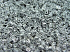 6mm Silver Metallic Alphabet Beads with Black Letters 200pc