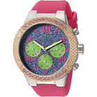 GUESS Womens Multifunction Watch, Blue Glitter Dial Pink Silicone Glitz Crystals