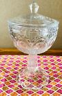 Vintage : Clear Depression glass. Compote Candy Dish with lid. Footed Pedestal.