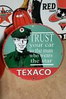 TEXACO GASOLINE MOTOR OIL porcelain sign USA 62 vintage star brand gas pump